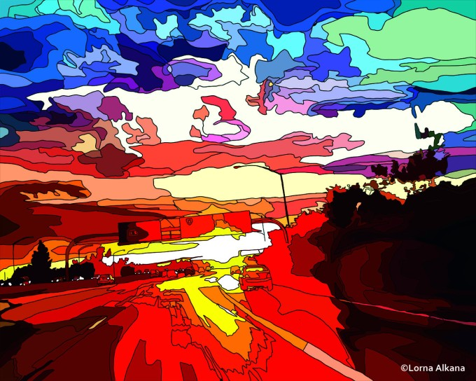 freeway sunset 16x20 web