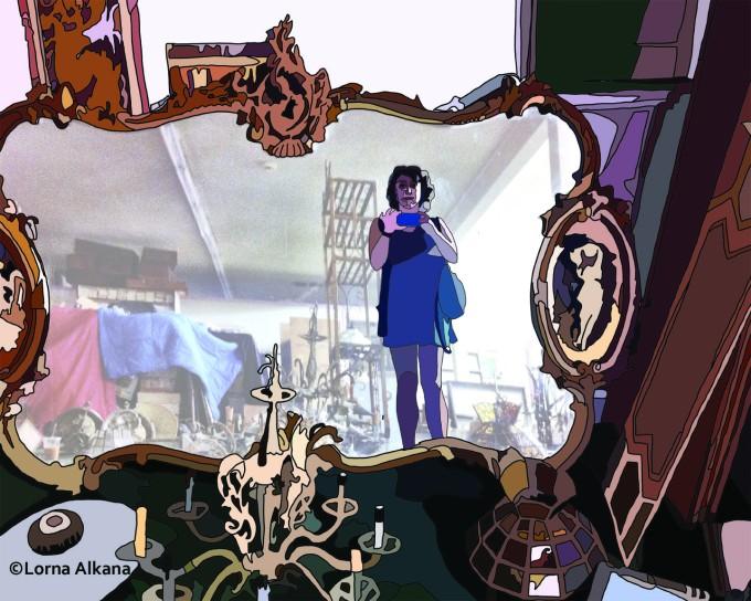 self portrait in furniture store 16x20 drawn light small