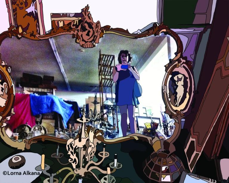 self portrait in furniture store 16x20 drawn small
