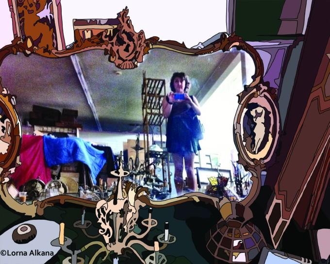 self portrait in furniture store 16x20 small
