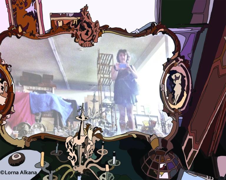 self portrait in furniture store faded 16x20 small