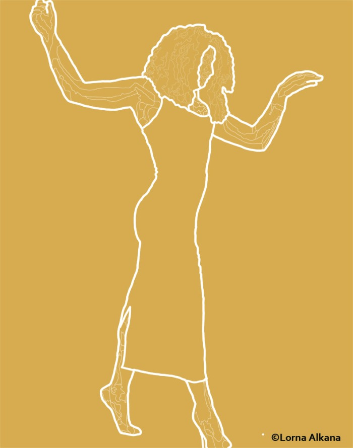 sarah dancing web line drawing