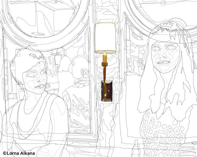 two women in a las vegas bathroom 16x20 web line drawing