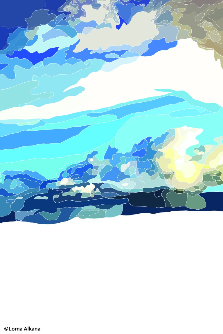 trees and houses in front of clouds and the sky 20x30 for web sky
