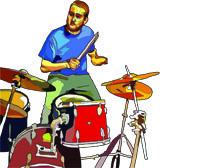 playing drums web feat