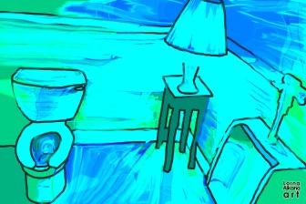 "1. Bathroom Art, Blue 12""x18"""