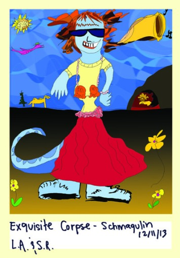 Exquisite Corpse - Dinosaur Woman Outside