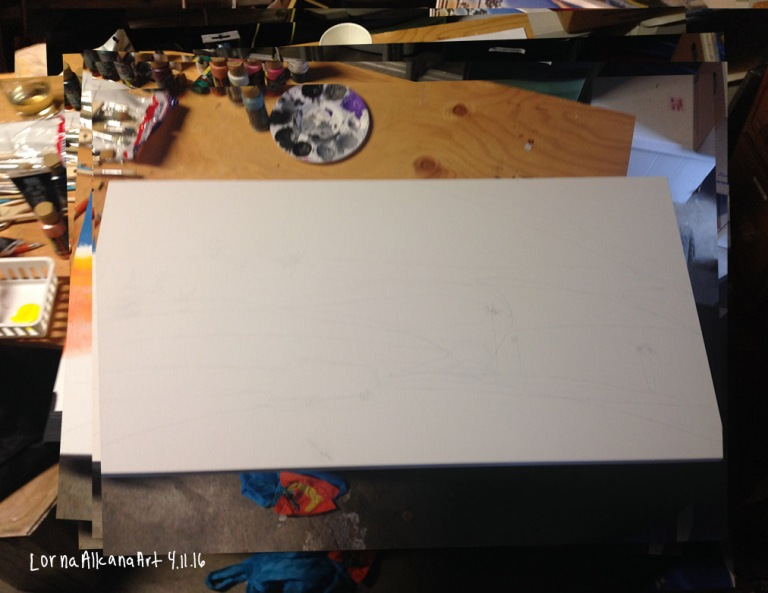 sunset painting process 11x8 blank w