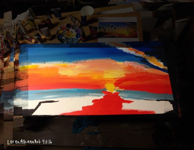 sunset painting process 11x8 start distance w
