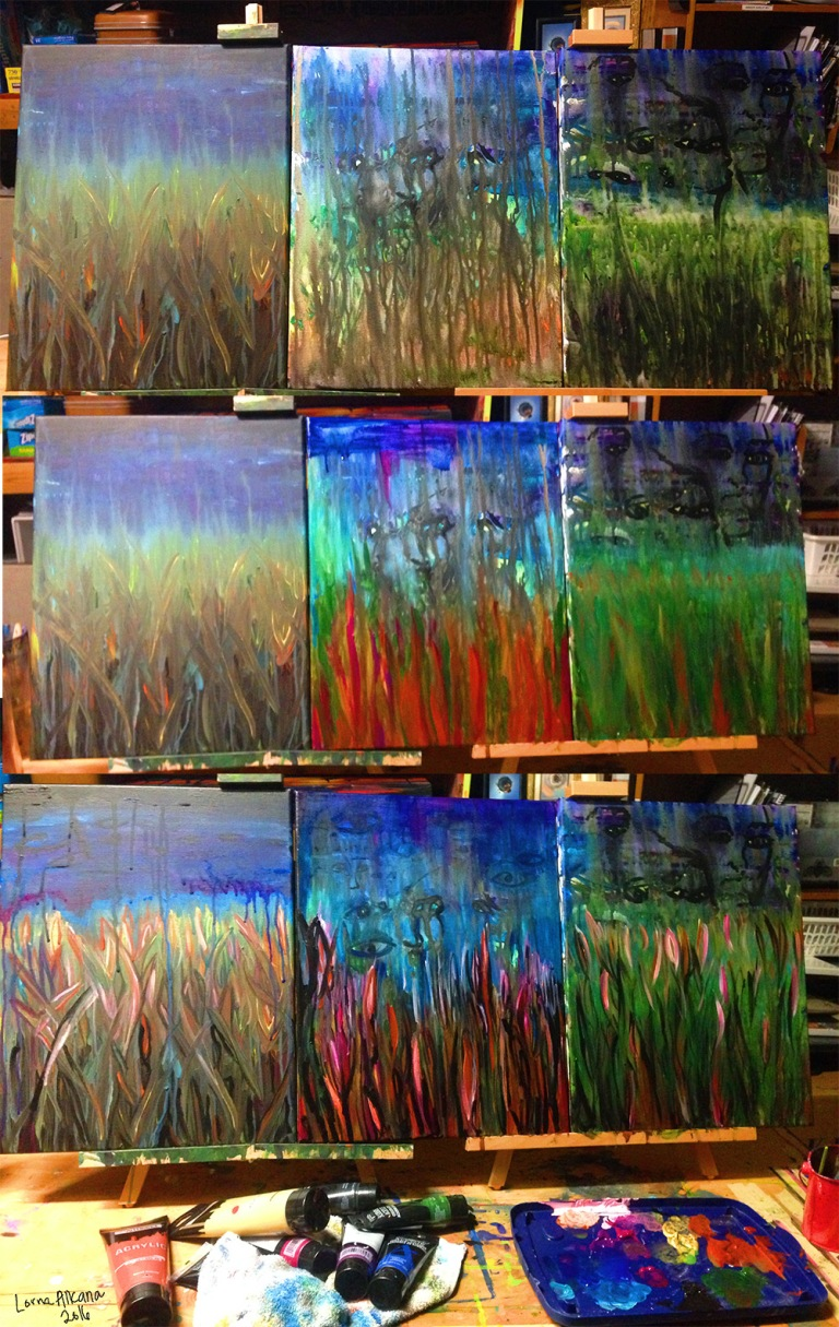 untitled paintings in a row w