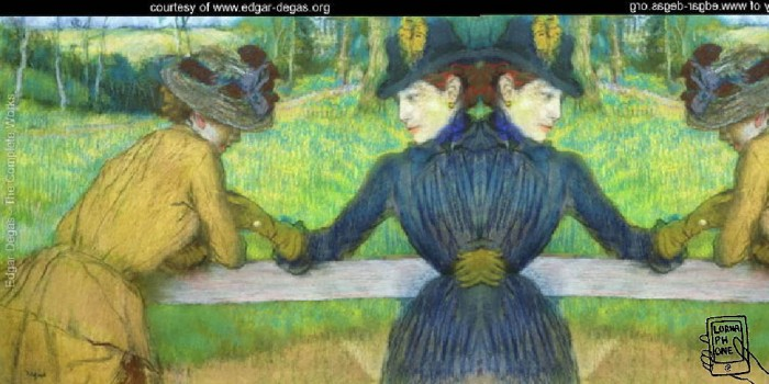 degas leaning on fence